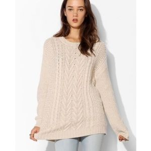 BDG Cable Knit Fisherman Cream Sweater Size S